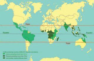 Peta sebaran budidaya tanaman kopi